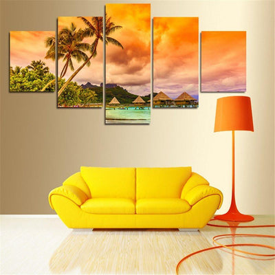 TEEPEAT Canvas Medium / Unframed Beach Coconut Tree - 5 Piece Canvas Painting