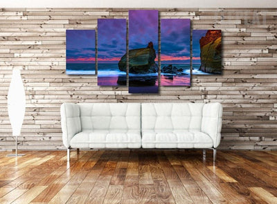 TEEPEAT Canvas Medium / Unframed Beach Seascape Painting - 5 Piece Canvas
