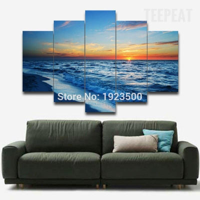 TEEPEAT Canvas Medium / Unframed Beach Sunset V2 Painting - 5 Piece Canvas