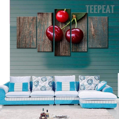 TEEPEAT Canvas Medium / Unframed Beautiful Cherries On Board Landscape View - 5 Piece Canvas