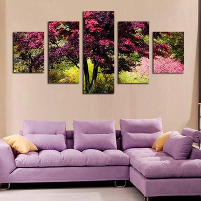 TEEPEAT Canvas Medium / Unframed Beautiful Colorful Tree - 5 Piece Canvas