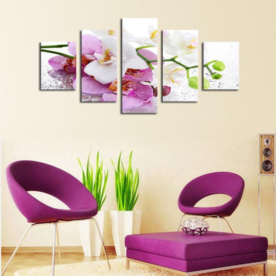 TEEPEAT Canvas Medium / Unframed Beautiful Orchid Flowers - 5 Piece Canvas Painting