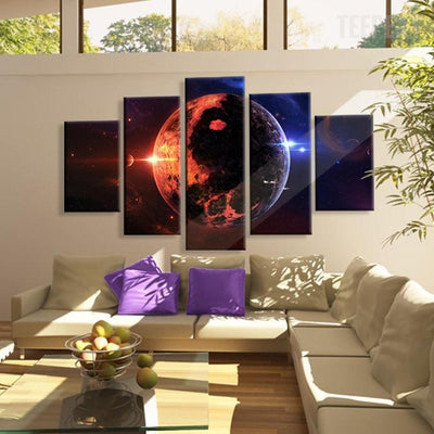 TEEPEAT Canvas Medium / Unframed Beautiful Planet Earth On The Milky Way Galaxy - 5 Piece Canvas