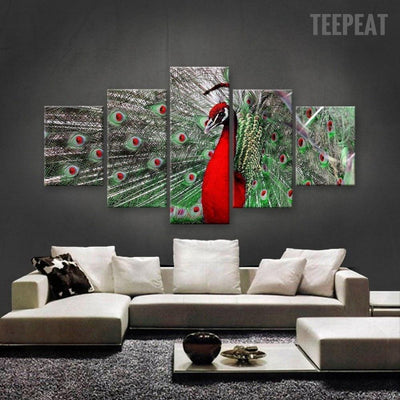 TEEPEAT Canvas Medium / Unframed Beautiful Red Peacock - 5 Piece Canvas