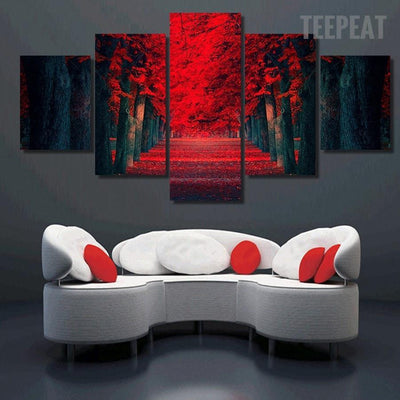 TEEPEAT Canvas Medium / Unframed Beautiful Red Woods - 5 Piece Canvas Painting