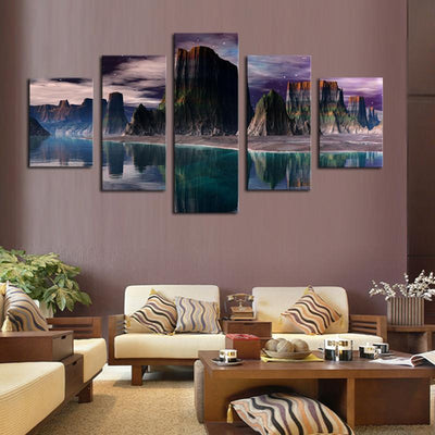 TEEPEAT Canvas Medium / Unframed Beautiful Rocky Mountains and Stunning Green Lakes- 5 Piece Canvas