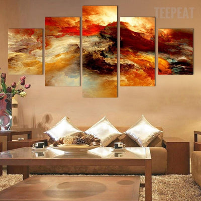TEEPEAT Canvas Medium / Unframed Beautiful Sea Sunset - 5 Piece Canvas Painting