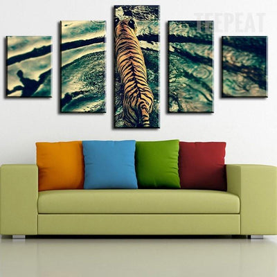 TEEPEAT Canvas Medium / Unframed Beautiful Tiger On The Water - 5 Piece Canvas Painting