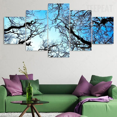 TEEPEAT Canvas Medium / Unframed Beautiful Tree Branches Before The Blue Clouds - 5 Piece Canvas