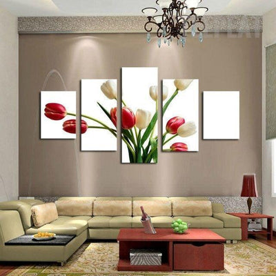 TEEPEAT Canvas Medium / Unframed Beautiful Tulips Flower - 5 Piece Canvas Painting