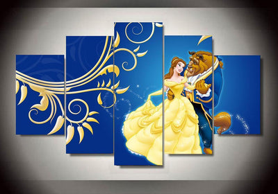 TEEPEAT Canvas Medium / Unframed Beauty And The Beast - 5 Piece Canvas