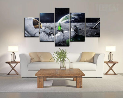 TEEPEAT Canvas Medium / Unframed Beer on the Moon - 5 Piece Canvas Painting