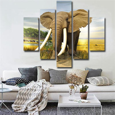 TEEPEAT Canvas Medium / Unframed Big Elephant In The Farm - 5 Piece Canvas Painting