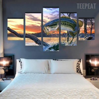 TEEPEAT Canvas Medium / Unframed Big Fish Before The Sunset Seaview - 5 Piece Canvas