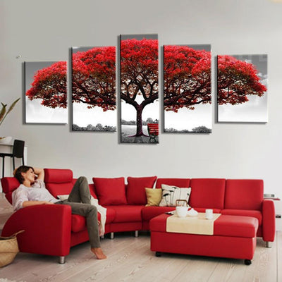 TEEPEAT Canvas Medium / Unframed Big Red Tree In The Wild - 5 Piece Canvas Painting