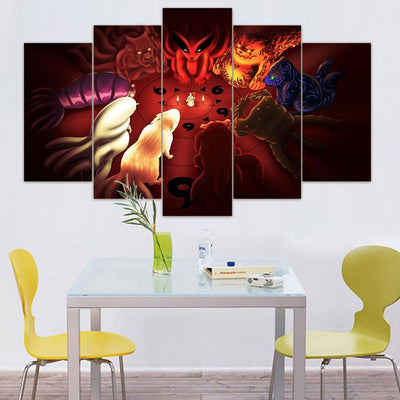 TEEPEAT Canvas Medium / Unframed Bijuu Naruto - 5 Piece Canvas Painting