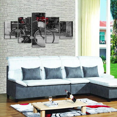 TEEPEAT Canvas Medium / Unframed Black And White Bicycle Landscape View - 5 Piece Canvas
