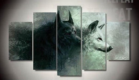 TEEPEAT Canvas Medium / Unframed Black And White Fierce Wolves - 5 Piece Canvas