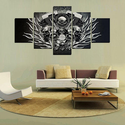 TEEPEAT Canvas Medium / Unframed Black And White Harley Skull - 5 Piece Canvas