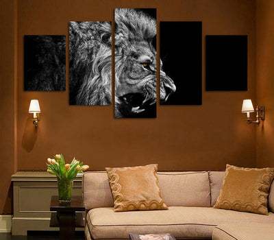 TEEPEAT Canvas Medium / Unframed Black And White Lion Cuadros - 5 Piece Canvas Painting