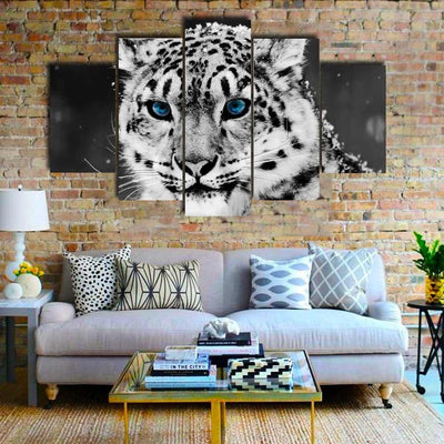 TEEPEAT Canvas Medium / Unframed Black And White Snow Leopard Face - 5 Piece Canvas