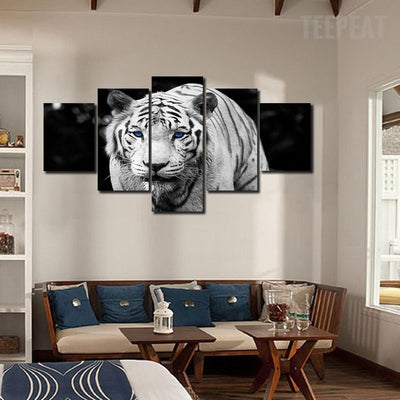 TEEPEAT Canvas Medium / Unframed Black and White Tiger - 5 Piece Canvas Painting