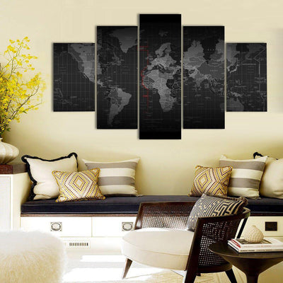 TEEPEAT Canvas Medium / Unframed Black And White Time Zone World Map - 5 Piece Canvas