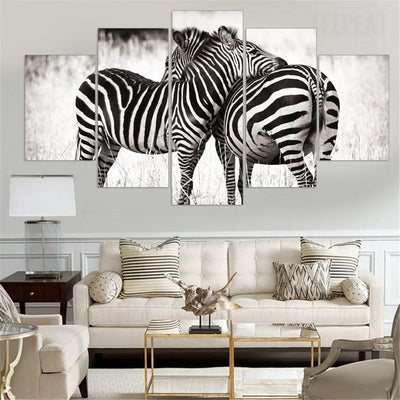 TEEPEAT Canvas Medium / Unframed Black And White Zebras - 5 Piece Canvas Painting