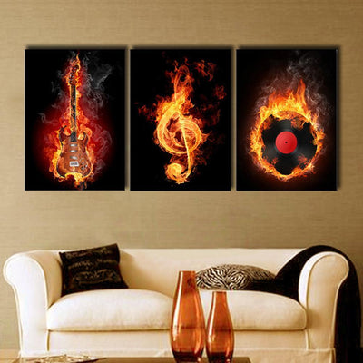 TEEPEAT Canvas Medium / Unframed Black And Yellow Burning Guitar And Musical Notes - 3 Piece Canvas