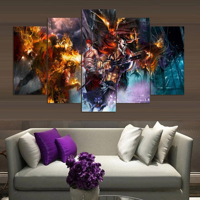 TEEPEAT Canvas Medium / Unframed Bleach  - 5 Piece Canvas Painting
