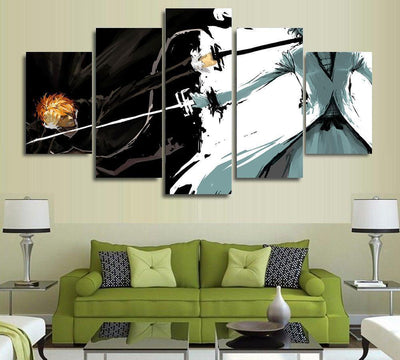 TEEPEAT Canvas Medium / Unframed Bleach: Ichigo Kurosaki Painting - 5 Piece Canvas
