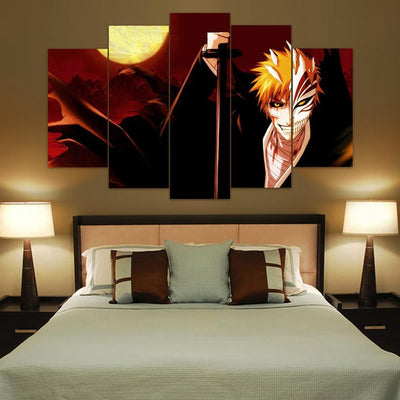 TEEPEAT Canvas Medium / Unframed Bleach Ichigo - The Dark Side - 5 Piece Canvas Painting