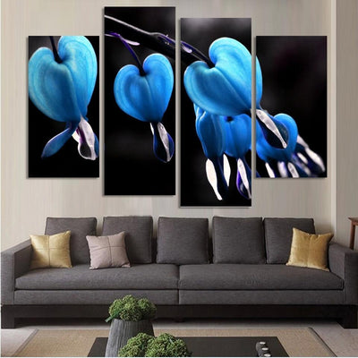 TEEPEAT Canvas Medium / Unframed Blue Flowers Cuadros - 4 Piece Canvas Painting