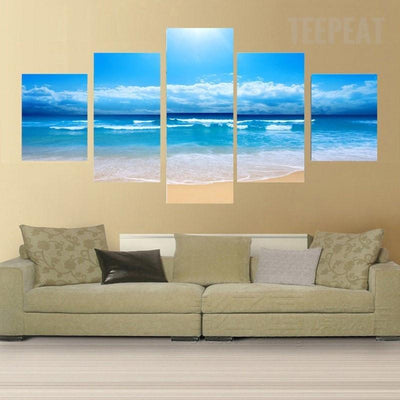 TEEPEAT Canvas Medium / Unframed Blue Sky and Beach Wave Landscape - 5 Piece Canvas Painting