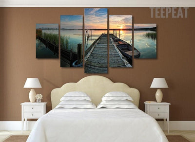TEEPEAT Canvas Medium / Unframed Boat Beside The Bridge Painting - 5 Piece Canvas