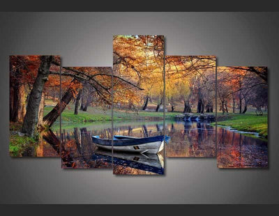TEEPEAT Canvas Medium / Unframed Boat in the Fall Painting - 5 Piece Canvas