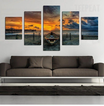 TEEPEAT Canvas Medium / Unframed Boat in the Sunset Painting - 5 Piece Canvas