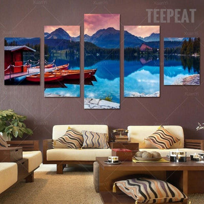 TEEPEAT Canvas Medium / Unframed Boats in the Lake Painting - 5 Piece Canvas