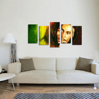 TEEPEAT Canvas Medium / Unframed Bob Marley Painting - 5 Piece Canvas