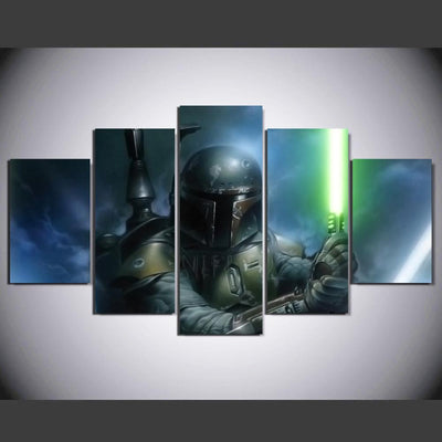 TEEPEAT Canvas Medium / Unframed Boba Fett Of Star Wars - 5 Piece Canvas
