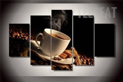 TEEPEAT Canvas Medium / Unframed Brewing Black Coffee Beans - 5 Piece Canvas Painting
