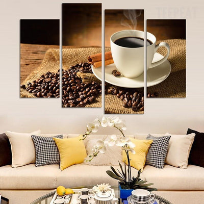 TEEPEAT Canvas Medium / Unframed Brewing Coffee and Beans - 5 Piece Canvas Painting