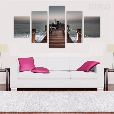 TEEPEAT Canvas Medium / Unframed Bridge Over Tropical Ocean Sea - 5 Piece Canvas Painting