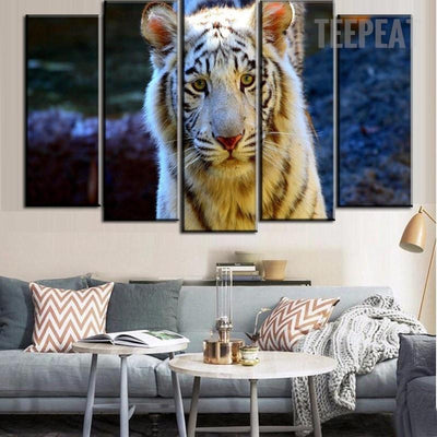TEEPEAT Canvas Medium / Unframed Bright Plumage Tiger - 5 Piece Canvas