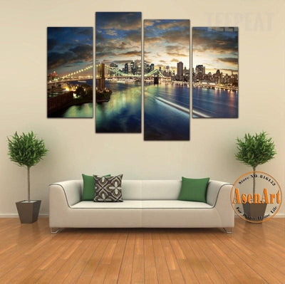 TEEPEAT Canvas Medium / Unframed Brooklyn Bridge Painting - 4 Piece Canvas