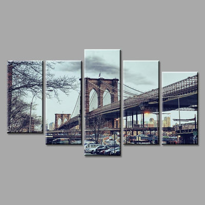 TEEPEAT Canvas Medium / Unframed Brooklyn New York City Bridge - 5 Piece Canvas