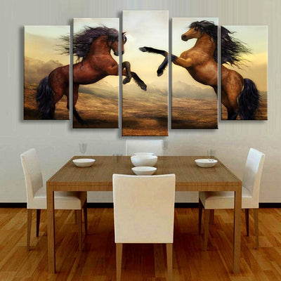 TEEPEAT Canvas Medium / Unframed Brown Horses Painting - 5 Piece Canvas
