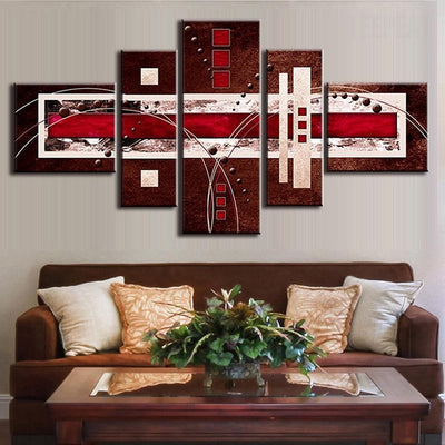 TEEPEAT Canvas Medium / Unframed Brown Red Cream Abstract Painting - 5 Piece Canvas