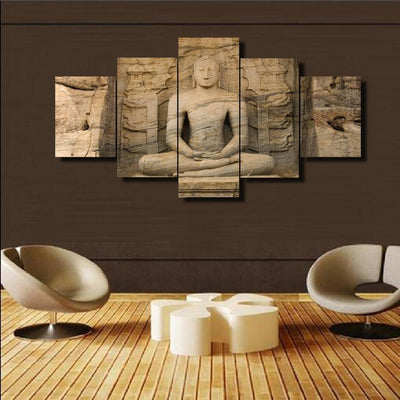 TEEPEAT Canvas Medium / Unframed Buddha Carved From Stone - 5 Piece Canvas Painting
