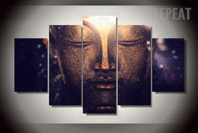 TEEPEAT Canvas Medium / Unframed Buddha Head v2 Painting - 5 Piece Canvas